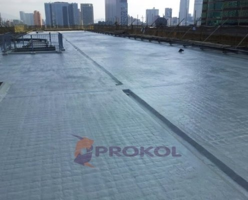 A Large Asphalt Roof in the City - now protected by Prokol's Hotspray 260FR