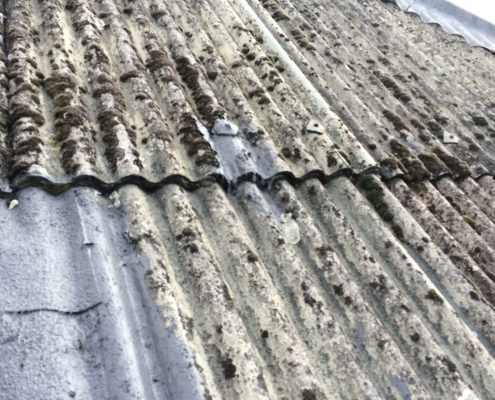 A Corrugated Roof Before Being Protected by Prokol Hotspray