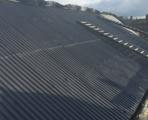 A Corrugated Roof After Being Protected by Prokol Hotspray